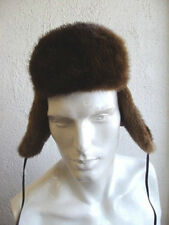 BRAND NEW ARCTIC BEAVER FUR & BROWN LEATHER HAT FOR MEN MAN