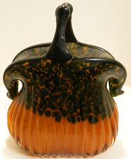 Murano Art Glass Speckled Black Amber Snap Style Purse Vase Planter Excellent