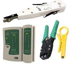 Network LAN Kit: RJ45 Cat5e RJ11 PC Cable Tester Crimping Crimper Punch Tool Set