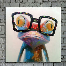 Cartoon Frog Oil Painting on Canvas Abstract Animal Wall Art for Home Decoration