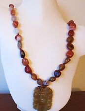 VERY OLD HUGE VINTAGE CHINESE CARVED NATURAL HEISU CARNELIAN BEADS NECKLACE 32""