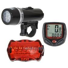 Bicycle Speedometer + 5 LED Mountain Bike Cycling Light Headlamp + Rear Lamp New