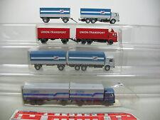 AI692-1# 4x Wiking H0 Lastzug MAN: 473 Albis+fern schnell gut+Union-Transport