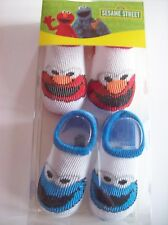 Sesame Street Crib Shoes/Booties/Two Pair Sz OSFM Elmo /Cookie NIB
