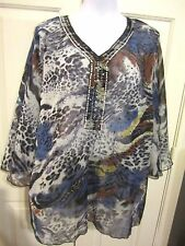 Intro casual corner Women's plus 1X semi sheer top NWT Dillards rtail 49.00