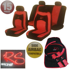 15 Piece Red RS Racing Car Seat Steering Wheel Belt Covers Floor Mats Cover Set