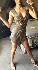 Arden B Bandage Camel Nude BodyCon Stretch Tank Dress Sleeveless Pencil Wiggle S