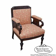 Antique Victorian Whimsical Aesthetic Carved Sunburst Lounge Chair