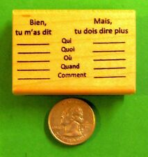 Who/What/Where/When - French Teacher's Rubber Stamp