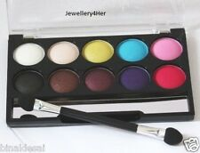BEAUTY UK DAY NIGHT 10 Shades Shimmer Eyeshadow Palette BLACK WHITE BLUE PINK BN
