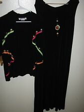 Plus Size XL fits 1X 2PC Black Slinky with Neon Colors Dress & Jacket by KOKOMO