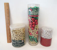 CHRISTMAS BEAD GARLAND LOT 3 NEW NEVER OPENED PACKAGES 60' 30' AND 30' DILLARD'S