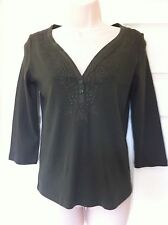 Ex Per Una Dark Green 3/4 Sleeve Top, Button And Embroidery Detail Size 10