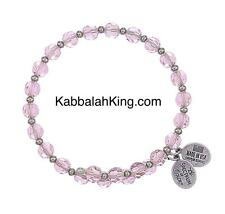 Wind & Fire 6mm Pink Sapphire Crystal With Spacer Bead Stackable Bangle Bracelet