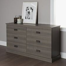 South Shore 10117 Gloria 6-Drawer Double Dresser- Gray Maple NEW