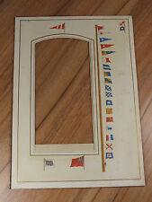 Antique Photo Album Pictorial Mount - Maritime Signal Flags - Nautical