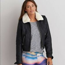 NEW WOMEN'S AMERICAN EAGLE OUTFITTERS BLACK VEGAN LEATHER FLIGHT JACKET SMALL