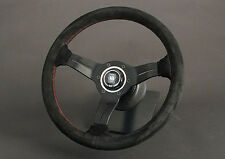 NARDI COMPETITION SUEDE STEERING WHEEL W/BLACK SPOKES RED STITCH 330MM