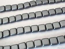 25 6x6x3mm CzechMates Two Hole Tile Beads: Pearl Coat - Silver