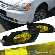 2001-2003 Fit  Honda Civic 2/4dr Yellow Fog Lights Driving Bumper Lamp w/ Switch