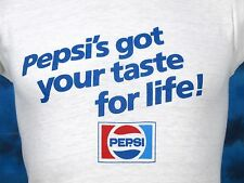 vintage 80s PEPSI'S GOT YOUR TASTE FOR LIFE PAPER THIN T-Shirt XXS soda pop soft