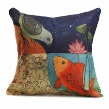 Bird & Fish Map Painting Art Cushion Cover Throw Pillow Decor Gift Present