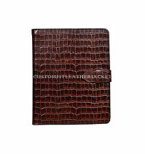 New iPad 2 3 & 4 Brown Croc Print Luxury Real Genuine Leather Cover Case Stand