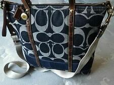 Coach Ltd Ed Signature Denim Blue Stripe Magazine Tote Bag Purse Satchel RARE!