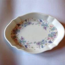 BEAUTIFUL WEDGWOOD OVAL PIN TRAY / BUTTER DISH ANGELA PATTERN FLOWERS BONE CHINA