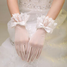 Ivory Satin Short Lace Full Gloves Bowknot Formal Wedding Bridal Party Accessory