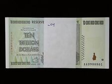 ZIMBABWE 10 TRILLION DOLLARS BANK NOTE 2008, UNCIRCULATED - FREE USA SHIPPING