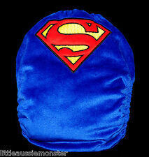 Embroidered Superman Minky - Modern Cloth Nappy (MCN) + 2x Microfibre inserts