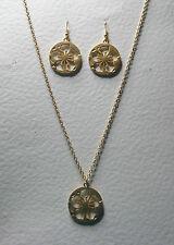 """Largo Collar Colgante de Placa de Oro Mate Sombra silueta de Flores Set 28"""" Chai"""