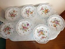 "7 VTG Signed ACS Bavaria Reticulated Pierced Porcelain 9"" Dessert Plates"