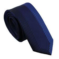 Coachella Ties Navy with Blue Contrast Stripe Necktie Microfiber Skinny Tie 7cm