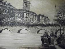 NERO Bianco PARIS Grande Olio Painting Tela francese Cityscape ORIGINALE EIFFEL ARTE