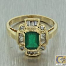 Vintage Estate 14k Solid Yellow Gold Round Baguette Diamond Emerald Ring