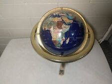 Blue Lapis Gemstone World Globe w/ Map Atlas Nautical Semi Precious Stone Inlay