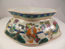 Antique Chinese Porcelain Narcissus Bowl Pot Famille Rose Design of Sages China