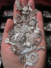 40 x  tibetan silver pendants charms  hearts wings  owls watch key shoe love