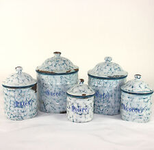 "French enamelware, graniteware canister set, ""Snow on the mountain"" 1920's"