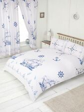 DOUBLE BED DUVET COVER SET NAUTICAL SHIP SEA ROPE WHITE MARINE ANCHOR COMPASS
