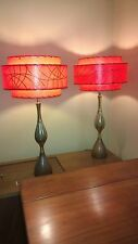 Pair of Mid Century Vintage Style 3 Tier Fiberglass Lamp Shades RED 2