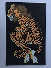 Blacklight Poster Pin-up Print Tiger Lady Woman & Black Panther  Double Sided