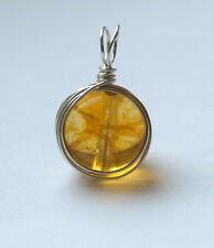 citrine quartz yellow pendant necklace sterling silver 925 handmade wire wrapped