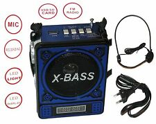 Portátil mp3 reproductor altavoz mini radio speaker música box USB micro SD azul
