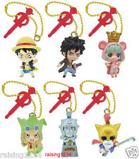 BANDAI One Piece Anime Log Memories JET Phone Strap Figure (Set 6 pcs) Luffy Law