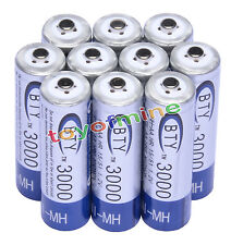 10xAA 3000mAh 1.2VNi-MH batteria ricaricabile BTY cellule per MP3 RC Toys Camera