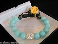 ARABESQUES JEWELS BRACELET GENUINE CRYSTAL/HEALING TURQUOISE BLUE AGATE/REIKI