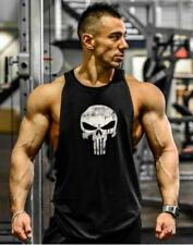 The Punisher Vintage Men Bodybuilding Stringer Gym Tank Top  Black M
